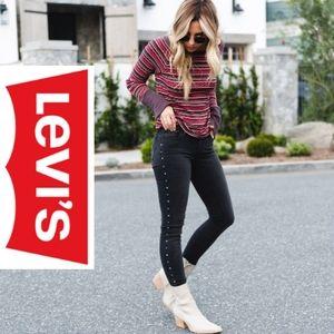 Levis 710 Super Skinny Black Studded Jeans, 24